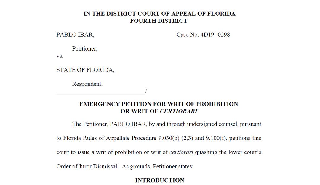 Recurso presentado por la defensa de Ibar al tribunal de apelaciones del cuarto distrito de florida contra la expulsión de Collins del jurado